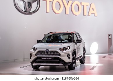 Paris, France, October 02, 2018: metallic white Toyota RAV4 Hybrid at Mondial Paris Motor Show, produced by Japanese automaker Toyota