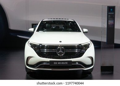 Paris, France, October 02, 2018: production car: all new electric Mercedes-Benz EQC 400 4Matic 300kW SUV, 2019 model year, EQ brand at Mondial Paris Motor Show, produced by Mercedes Benz