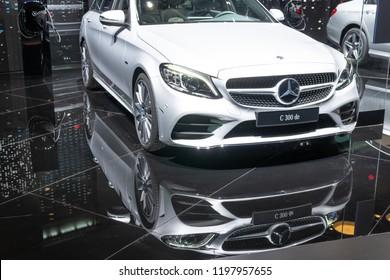 Paris, France, October 02, 2018: Mercedes Benz C 300 DE Plug-In Hybrid Break AMG Line EQ Power combi station wagon at Mondial Paris Motor Show, C-Class car produced by Mercedes-Benz