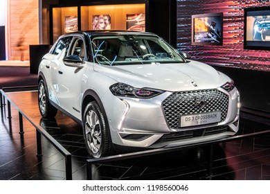 Paris, France, October 02, 2018:  metallic silver Citroen DS 3 Crossback E-Tense 4x4 Plug-In Hybrid at Mondial Paris Motor Show, SUV car produced by French car manufacturer Citroen