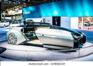 Paris, France, October 02, 2018: big electric autonomous robo car mobile lounge Renault EZ-ULTIMO concept prototype at Mondial Paris Motor Show, produced by Renault