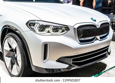 Paris, France, October 02, 2018: BMW iX3 Concept Car at Mondial Paris Motor Show, eco friendly SUV prototype car manufactured by BMW