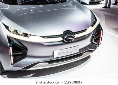 Paris, France, October 02, 2018: GAC Motor Enverge electric SUV concept car at Mondial Paris Motor Show, prototype car produced by Chinese automobile maker GAC Motor