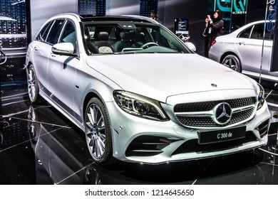 Paris, France, October 02, 2018: Mercedes Benz C 300 DE Plug-In Hybrid Break AMG Line EQ Power combi station wagon at Mondial Paris Motor Show, C-Class car produced by Mercedes-Benz