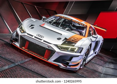 Paris, France, October 02, 2018: New Audi R8 LMS GT3 race car at Mondial Paris Motor Show, produced by German automobile manufacturer Audi AG