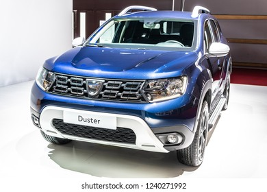 Paris, France, October 02, 2018: new metallic blue DACIA DUSTER at Mondial Paris Motor Show, Automobile Dacia booth, Romanian car manufacturer
