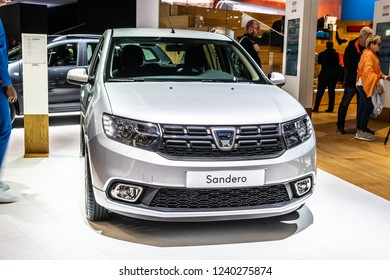Paris, France, October 02, 2018: metallic silver DACIA SANDERO at Mondial Paris Motor Show, Automobile Dacia booth, Romanian car manufacturer