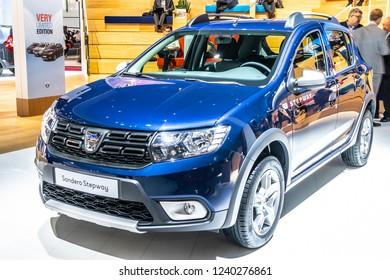 Paris, France, October 02, 2018: metallic blue DACIA SANDERO Stepway at Mondial Paris Motor Show, Automobile Dacia booth, Romanian car manufacturer