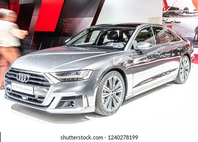 Paris, France, October 02, 2018: metallic graphite Audi A8 50 TDI quattro at Mondial Paris Motor Show, produced by German automobile manufacturer Audi AG