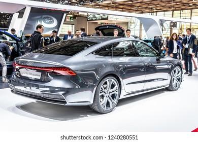 Paris, France, October 02, 2018: metallic graphite Audi A7 50 TDI quattro at Mondial Paris Motor Show, produced by German automobile manufacturer Audi AG