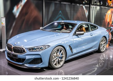 Paris, France, October 02, 2018:  BMW The 8 Series Coupe 840d at Mondial Paris Motor Show, coupe sports car manufactured and marketed by BMW