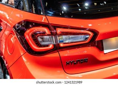 Paris, France, October 02, 2018: metallic red new Hyundai i20 at Mondial Paris Motor Show, produced by South Korean automotive manufacturer Hyundai