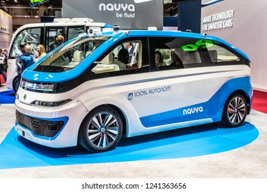 Paris, France, October 02, 2018: NAVYA Autonomous Vehicles, AUTONOM CAB TAXI, driverless and electric, innovative, effective, clean and intelligent mobility solution, at Mondial Paris Motor Show