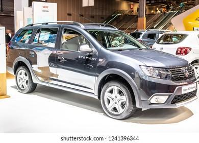 Paris, France, October 02, 2018: DACIA LOGAN MCV Stepway at Mondial Paris Motor Show, Automobile Dacia booth, Romanian car manufacturer