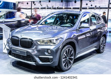 Paris, France, October 02, 2018: metallic blue BMW X1 at Mondial Paris Motor Show, manufactured and marketed by BMW