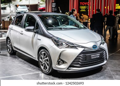 Paris, France, October 02, 2018: metallic silver Toyota Yaris Hybrid Y20 Edition at Mondial Paris Motor Show, produced by Japanese automaker, Toyota booth