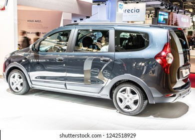 Paris, France, October 02, 2018: DACIA LODGY Stepway at Mondial Paris Motor Show, Automobile Dacia booth, Romanian car manufacturer