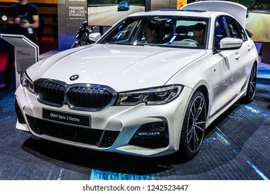 Paris, France, October 02, 2018: metallic white all new BMW 3 Series Sedan Berline 320d at Mondial Paris Motor Show, manufactured and marketed by BMW