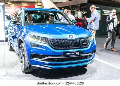 Paris, France, October 02, 2018: World premiere: metallic blue Skoda KODIAQ RS at Mondial Paris Motor Show, produced by Czech automobile manufacturer Skoda Auto