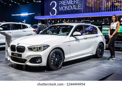 Paris, France, October 02, 2018: metallic white BMW 1 Series 118i 5-door Fast Love at Mondial Paris Motor Show, manufactured and marketed by BMW
