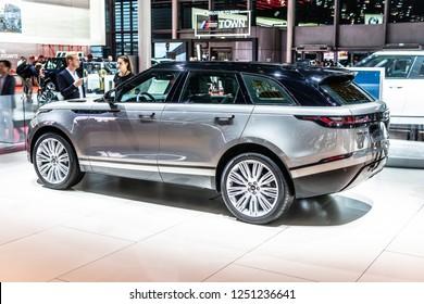 Paris, France, October 02, 2018: Land Rover RANGE ROVER VELAR D24D HSE at Mondial Paris Motor Show