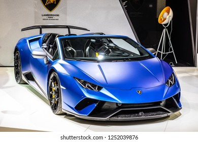 Paris, France, October 02, 2018: metallic blue Lamborghini Huracan Performante Spyder 5.2 V10 DCT, 640hp, 2019 7-speed at Mondial Paris Motor Show, supercar manufactured by Lamborghini