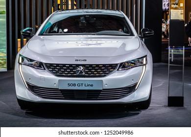 Paris, France, October 02, 2018: metallic white new Peugeot 508 GT Line at Mondial Paris Motor Show- car produced by Peugeot, car produced by Peugeot