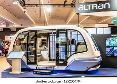 Paris, France, October 02, 2018: Altran Autonomous Shuttle, AUTONOM SHUTTLE bus, fully driverless electric vehicle, intelligent mobility solution, at Mondial Paris Motor Show