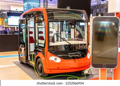 Paris, France, October 02, 2018: Transdev i-Cristal, electric, autonomous and shared shuttle co-developed by Transdev and Lohr at Mondial Paris Motor Show