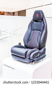 Paris, France, October 02, 2018: the driver's seat of Lamborghini Urus at Mondial Paris Motor Show, SUV manufactured by Italian car manufacturer Lamborghini