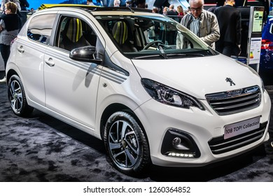 Paris, France, October 02, 2018: metallic white new Peugeot 108 Top! Collection at Mondial Paris Motor Show, car produced by Peugeot