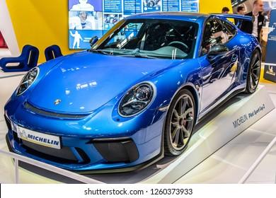 Paris, France, October 02, 2018: metallic blue Porsche 911 GT3 at Michelin stand at Mondial Paris Motor Show, car with Michelin Pilot Sport Cup 2 tires