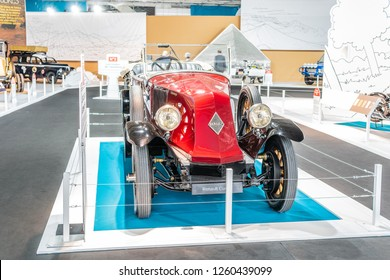 Paris, France, October 02, 2018: vintage Renault 40 CV Type JV Torpedo 1922 glossy and shiny old classic retro car at Mondial Paris Motor Show