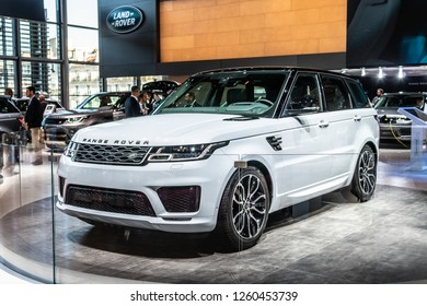 Paris, France, October 02, 2018: white Land Rover Range Rover Sport P400E Plug-in hybrid HSE at Mondial Paris Motor Show