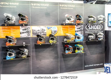 Paris, France, October 02, 2018: Shoei motorsport helmets at Mondial Paris Motor Show, Shoei is Japanese company producing motorcycle helmets since 1958