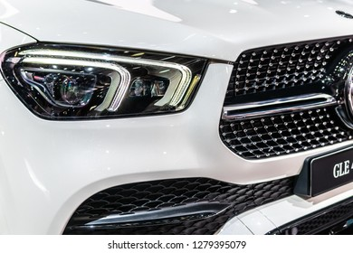 Paris, France, October 02, 2018: metallic white all new Mercedes Benz GLE 450 4Matic at Mondial Paris Motor Show, produced by Mercedes-Benz