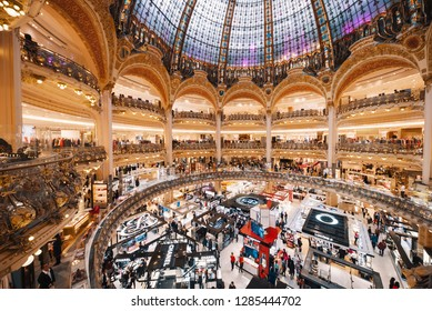 Paris, France - October 02, 2018: Galeries Lafayette Dome - Lafayette Galleries is an upmarket French department store chain places on Boulevard Haussmann, Paris, France.