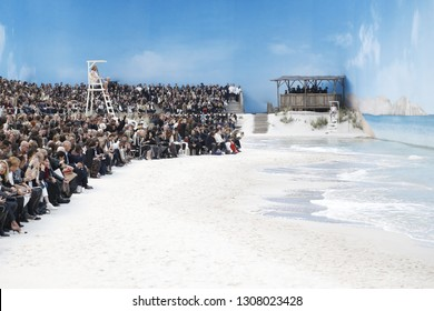 PARIS, FRANCE - OCTOBER 02: General atmosphere during the Chanel show as part of the Paris Fashion Week Womenswear Spring/Summer 2019 on October 2, 2018 in Paris, France.
