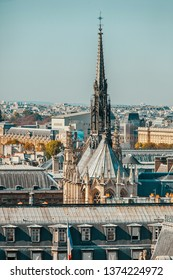 PARIS, FRANCE - OCTOBER 03, 2011 : Excursion to the roof of the Notre Dame de Paris. View over the rooftops of the city