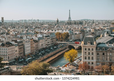 PARIS, FRANCE - OCTOBER 03, 2011 : View from the Notre Dame Cathedral on the Parisian buildings and the Eiffel Tower. view of the Seine