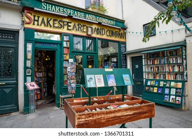 Paris / France - October 03 2018: Shakespeare and Company, the famous English-language bookstores in Paris, France