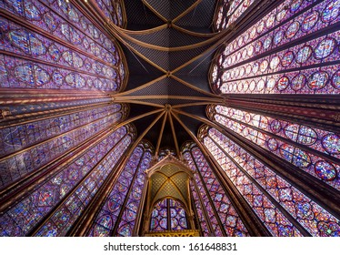 PARIS, FRANCE � OCTOBER 04, 2013: Interiors, nef and architectural details of the Sainte Chapelle, built  1239,  in Ile de la Cite,  october 04, 2013 in Paris, France.