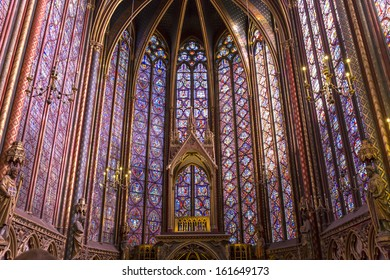 PARIS, FRANCE  OCTOBER 04, 2013: Interiors and architectural details of the Sainte Chapelle, built in 1239,  in Ile de la Cite,  october 04, 2013 in Paris, France.0.