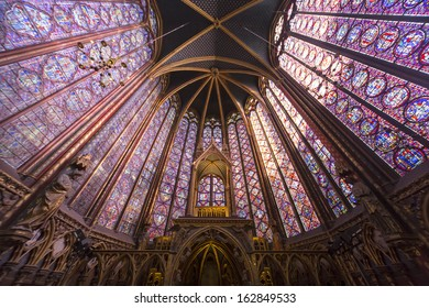 PARIS, FRANCE - OCTOBER 04, 2013: Interiors and architectural details of the Sainte Chapelle, built in 1239,  in Ile de la Cite,  october 04, 2013 in Paris, France..
