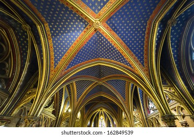 PARIS, FRANCE  OCTOBER 04, 2013: Interiors and architectural details of the Sainte Chapelle, built in 1239,  in Ile de la Cite,  october 04, 2013 in Paris, France..