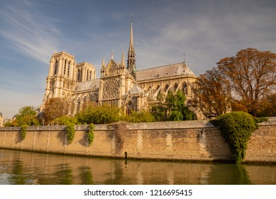 Paris, France - October 04 2017:panorama of the Seine river in Paris with NOTRE DAME cathedral in the background