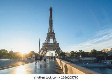 PARIS, FRANCE - OCTOBER 05, 2016: Eiffel Tower in the early morning. Sunrise moment.