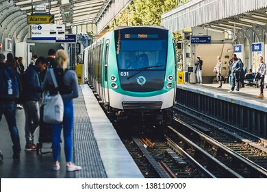 PARIS, FRANCE - OCTOBER 05, 2016: Underground train arriving in Nation station. Paris Metro is the one of the largest underground system in the world