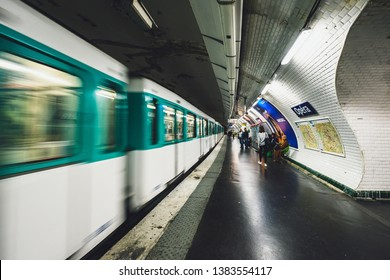 PARIS, FRANCE - OCTOBER 05, 2016: Train departing from Opera station. Paris Metro is the one of the largest underground system in the world