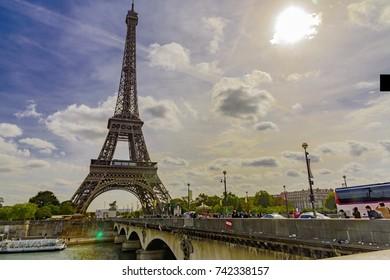 PARIS, FRANCE - OCTOBER 05, 2017 -   PARIS, FRANCE - OCTOBER 05, 2017 -  Paris Eiffel Tower in Autumn